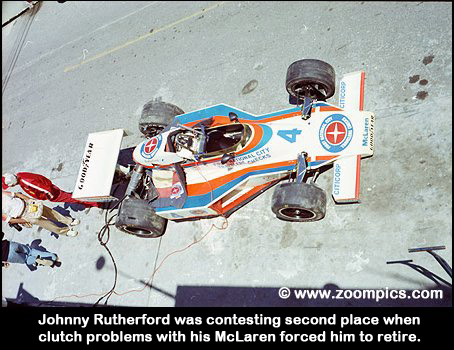 The McLaren/Cosworth of Johnny Rutherford was forced to retire with clutch problems.