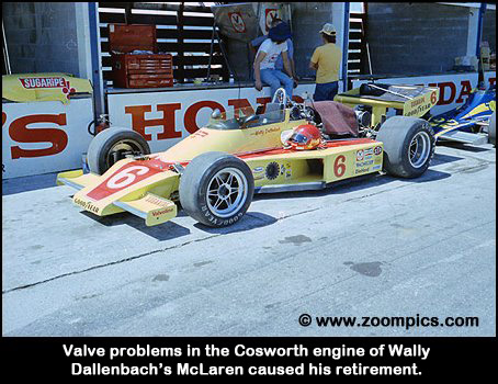 Wally Dallenbach's McLaren/Cosworth in the pitlane.