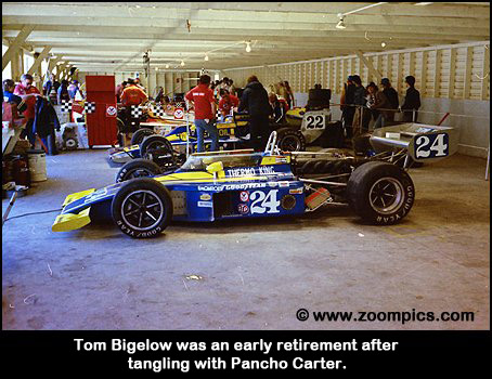 Tom Bigelow's Eagle/Offy in the garage at Mosport.