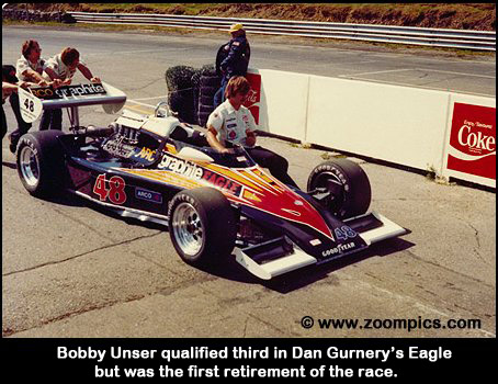 Bobby Unser won the first USAC Champ car race at Mosport in 1967 but was a DNF in 1978.